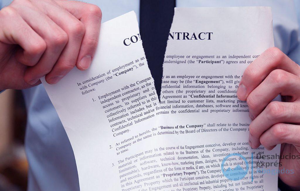 Contrato de alquiler roto por desalojo